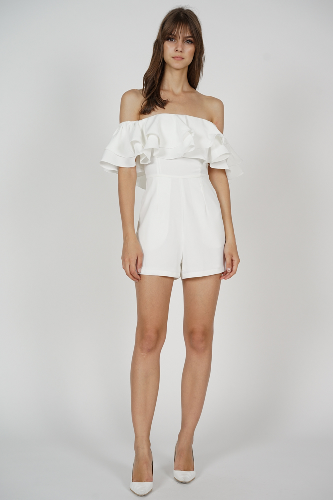 Paesha Ruffled Romper in White