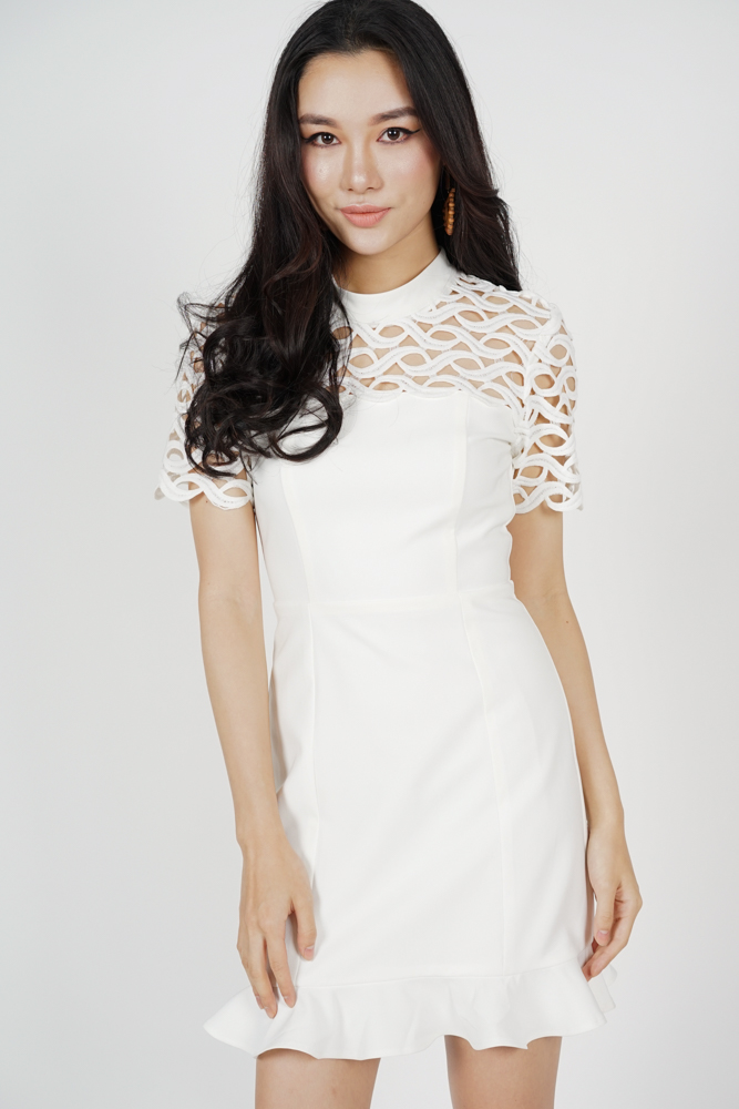 Klaris Ruffled-Hem Dress in White