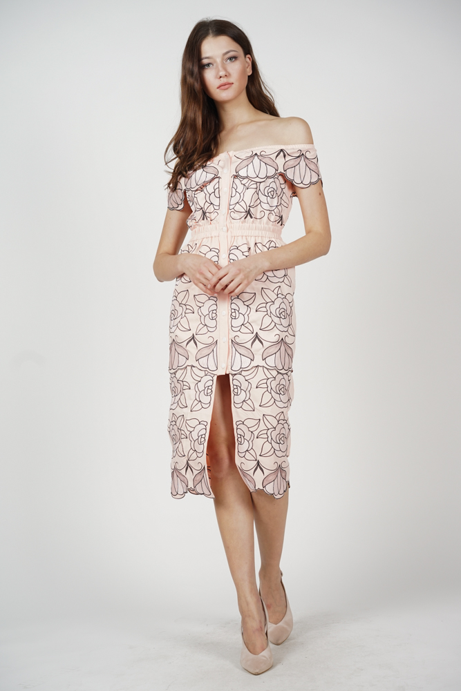 Jelaine Overlay Dress in Pink