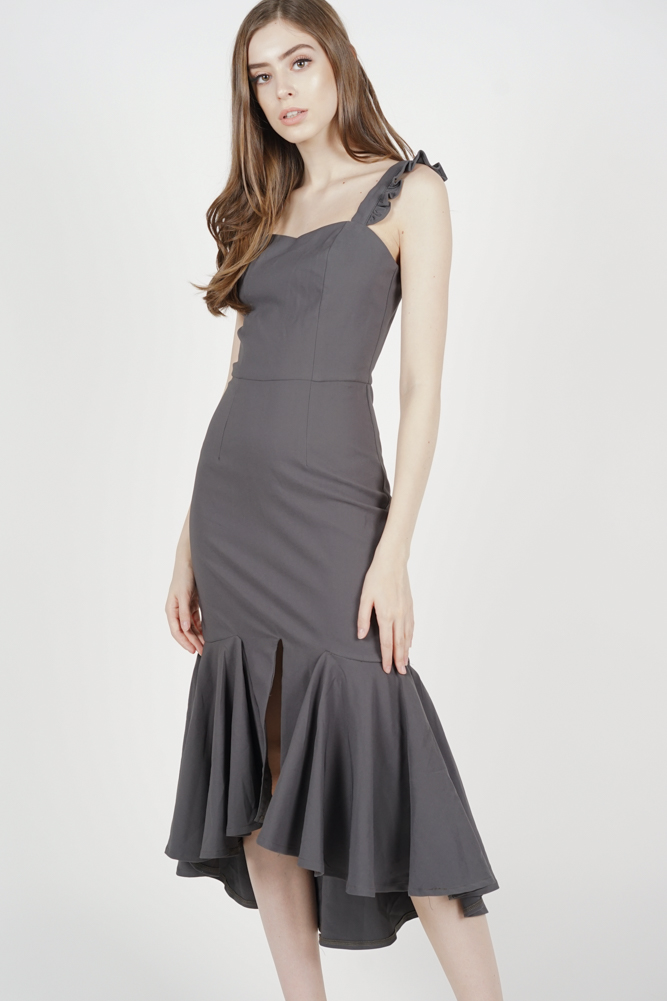 Eunice Frilly Dress in Charcoal - Arriving Soon
