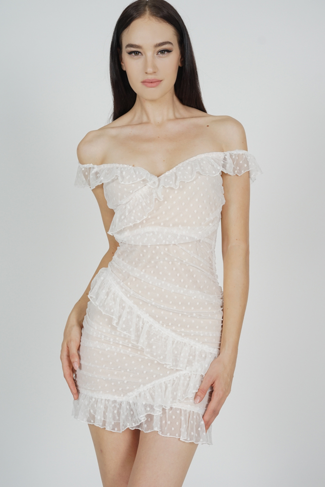 Muna Frill Dress in White - Arriving Soon