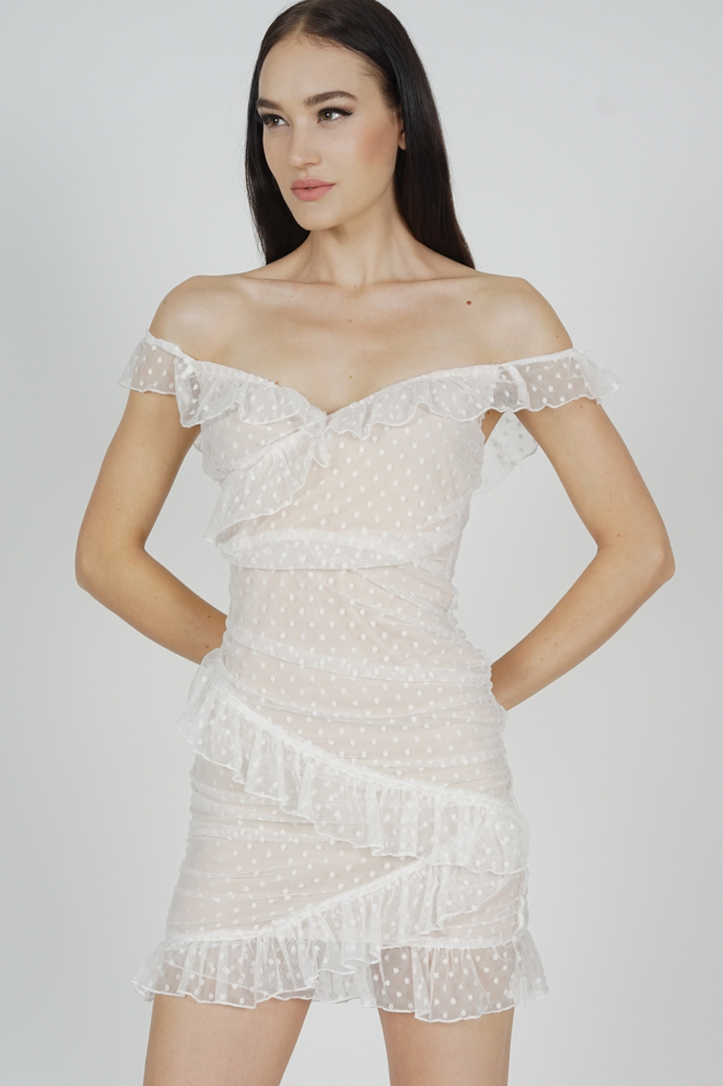 Muna Frill Dress in White