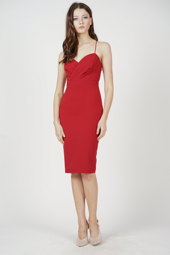 Anastasia Midi Dress in Red - Online Exclusive