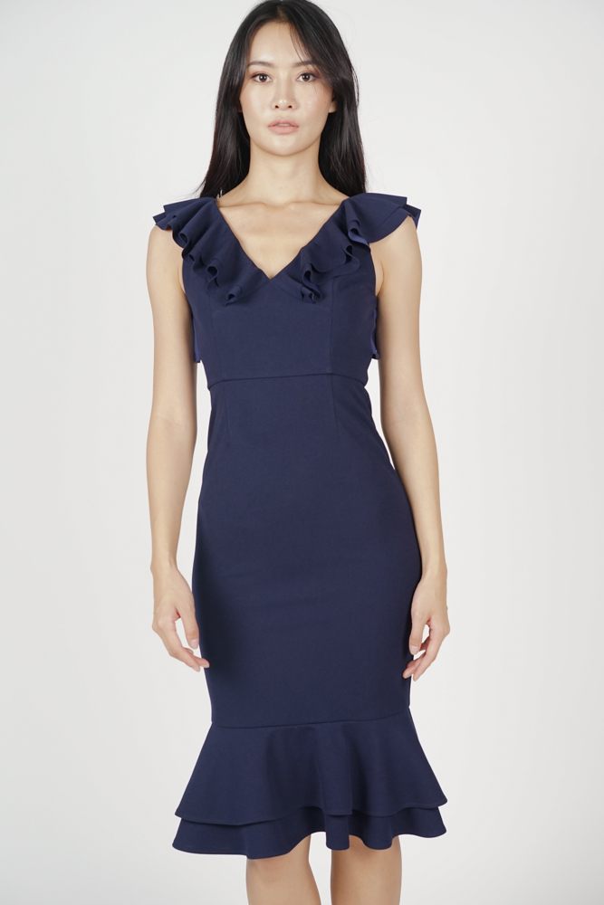 Merina Ruffled Dress in Midnight