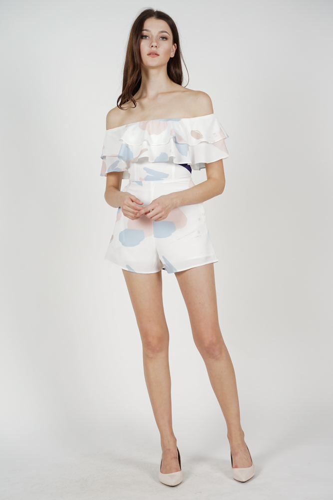 Abbey Ruffled Romper in White Pastel - Arriving Soon