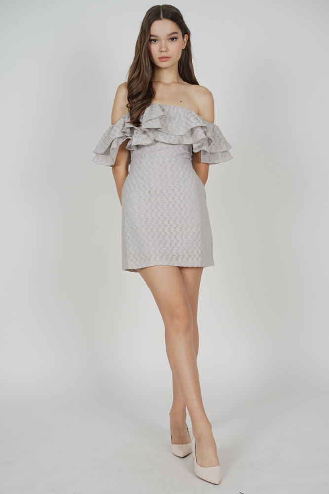 Ermia Flounce Dress in Grey