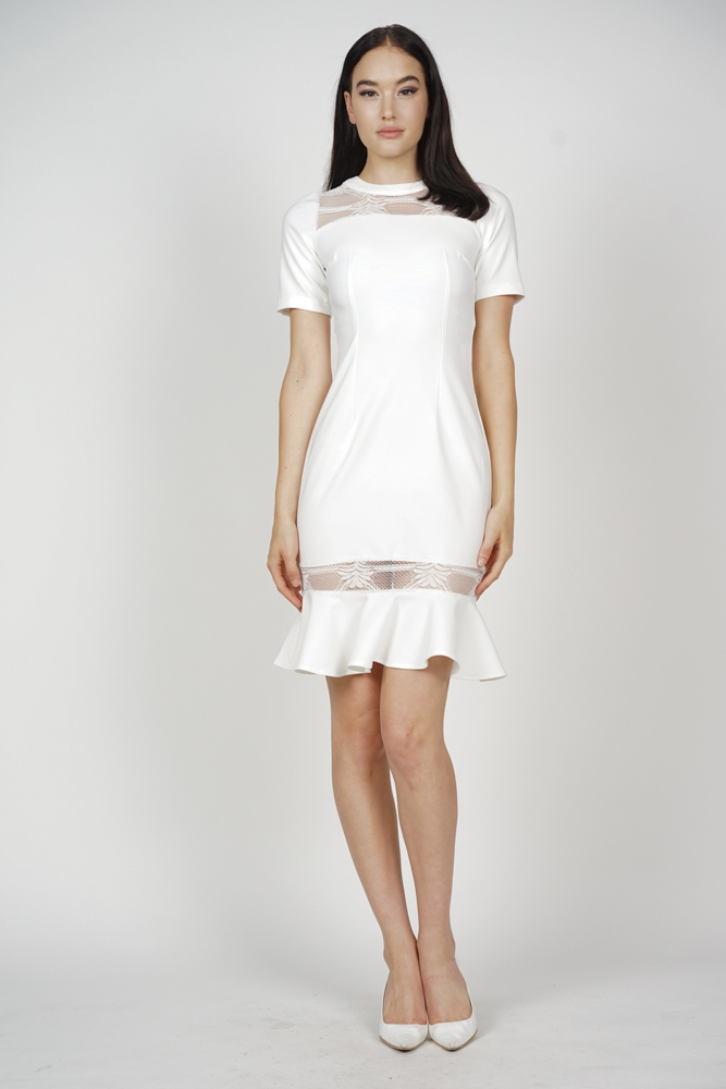 Jennifer Ruffled-Hem Dress in White