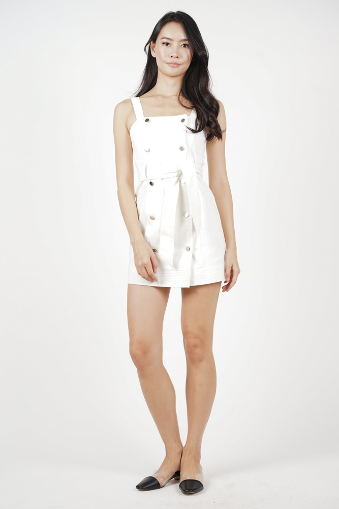 7b50cc323a MDS. Kyla Buttoned Denim Dress in White - Arriving Soon