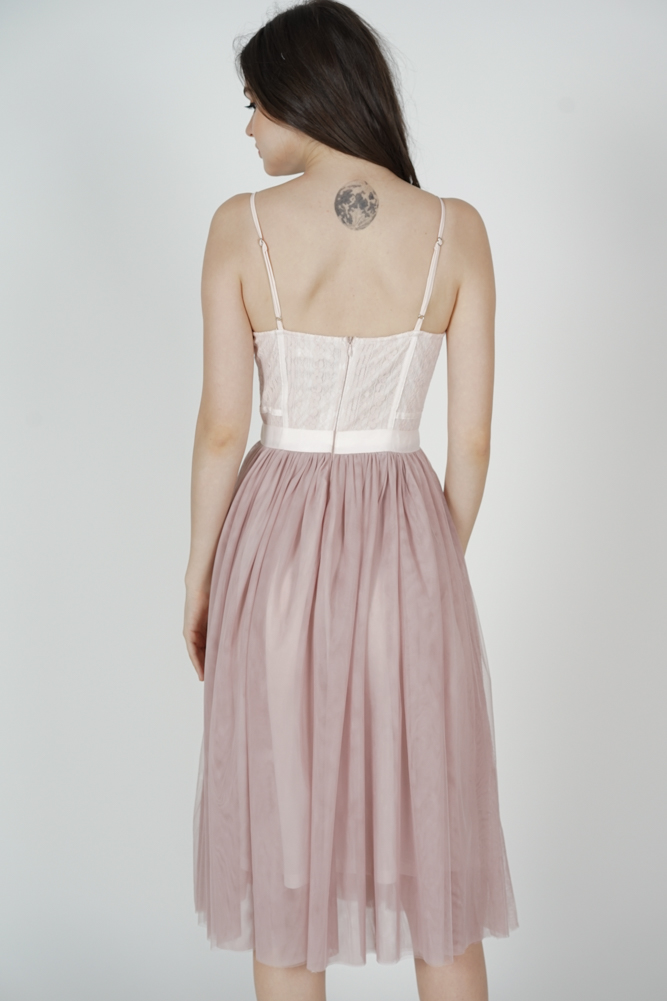 Merie Flared Tulle Dress in Pink