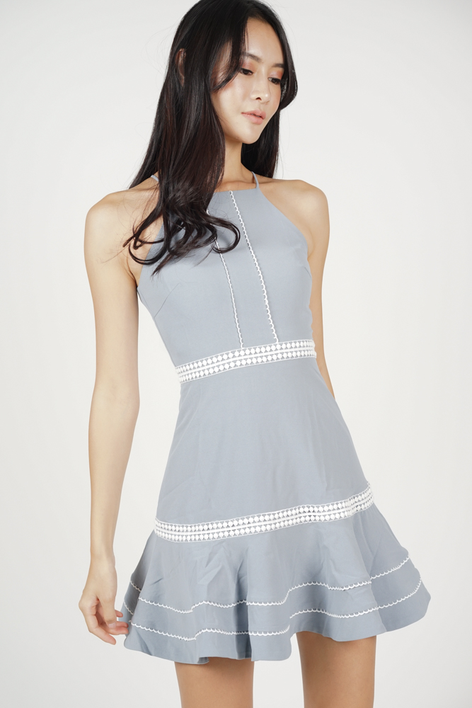 Hayden Ruffled-Hem Dress in Ash Blue - Arriving Soon