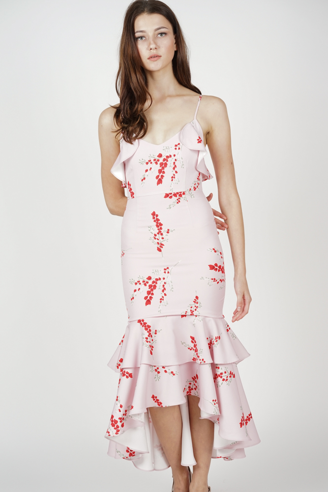 Lerina Tiered Dress in Pink Floral - Arriving Soon