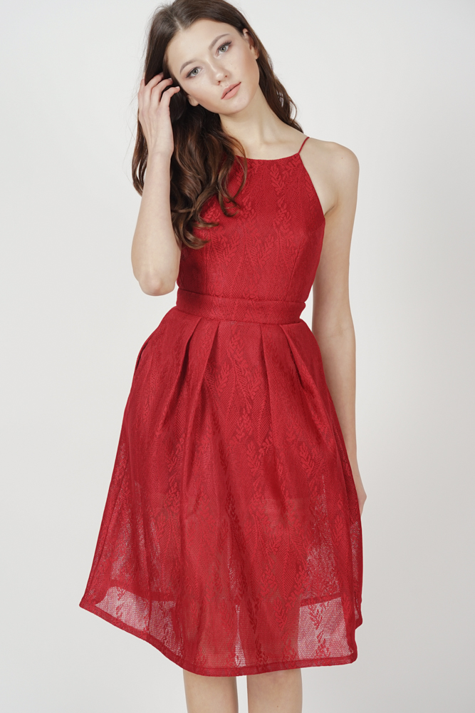 Amisha Flared Dress in Red