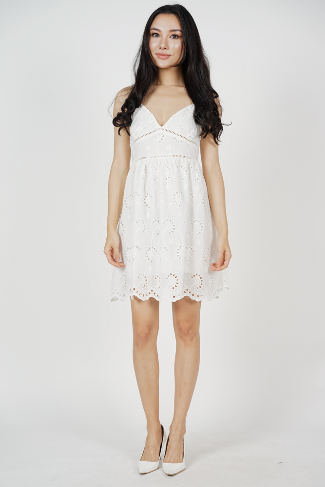 Elphis Flared Dress in White - Online Exclusive