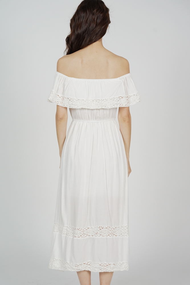 Florence Embroidered Dress in White - Online Exclusive