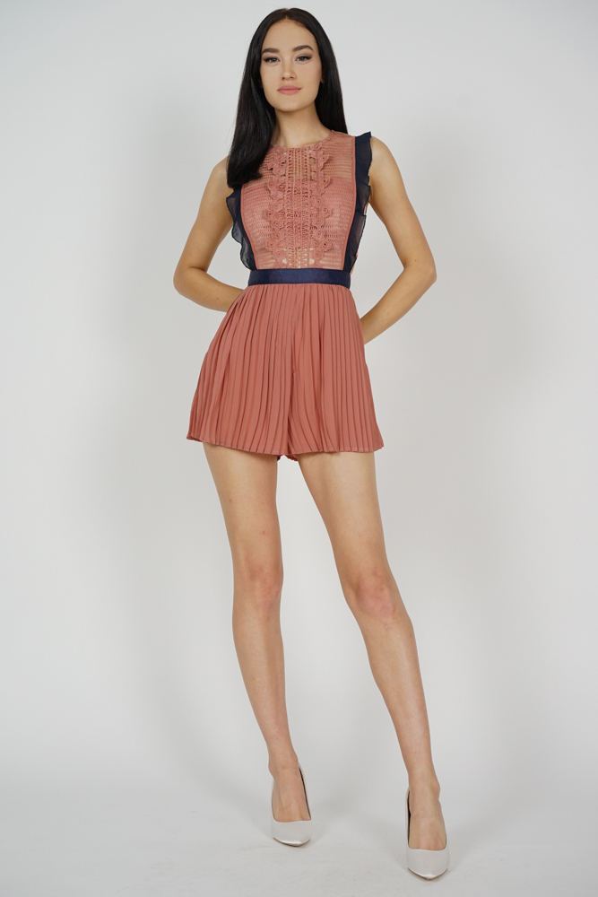 Beria Pleated Skorts Romper in Chestnut