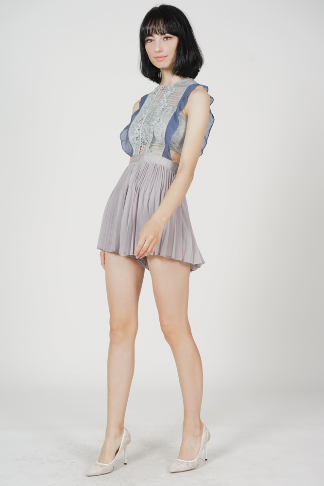 Beria Pleated Skorts Romper in Grey Blue