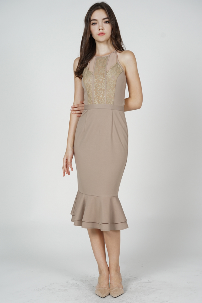 Marna Lace-Trimmed Dress in Taupe