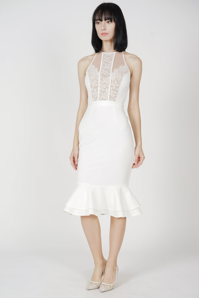 Marna Lace-Trimmed Dress in White