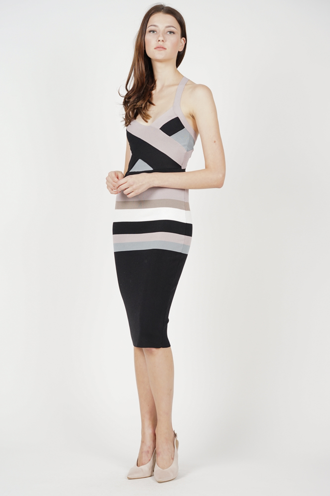 Vanni Contrast Dress in Multi