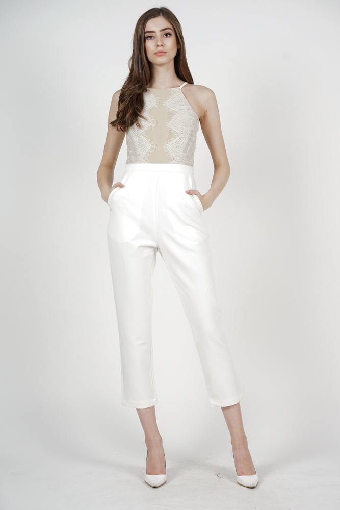 Oriea Lace-Trimmed Jumpsuit in White - Arriving Soon