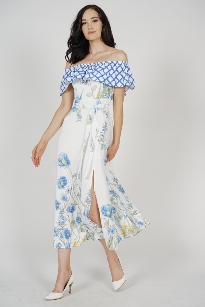 Suzanna Overlay Dress in Blue Checks Floral - Arriving Soon