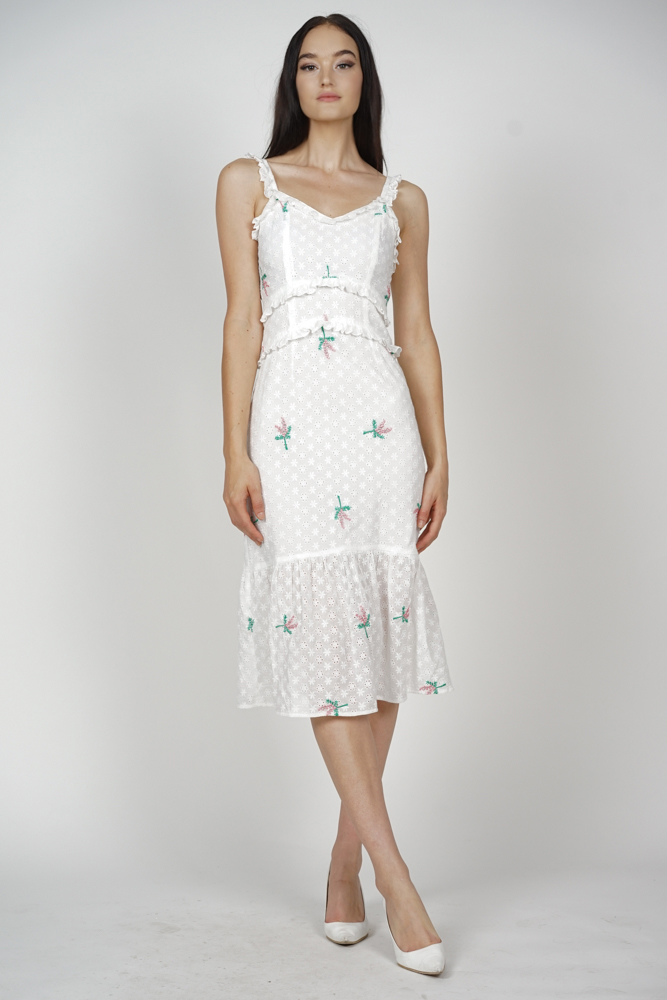 Radella Frill Dress in White Floral