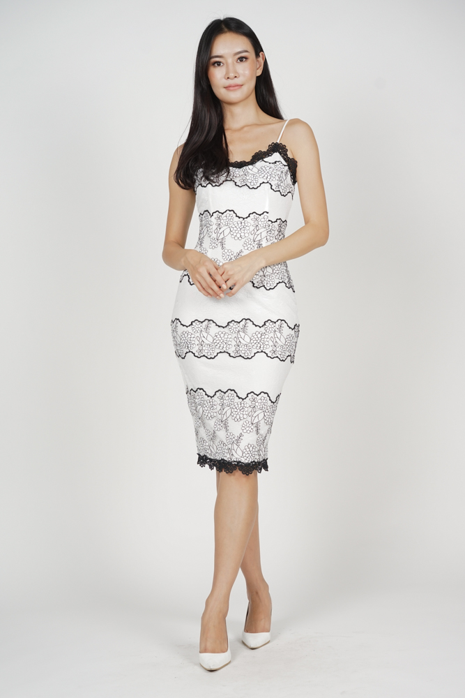 Tiara Lace-Trimmed Dress in White - Arriving Soon