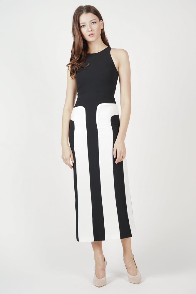 Shawna Color-Block Dress in Black