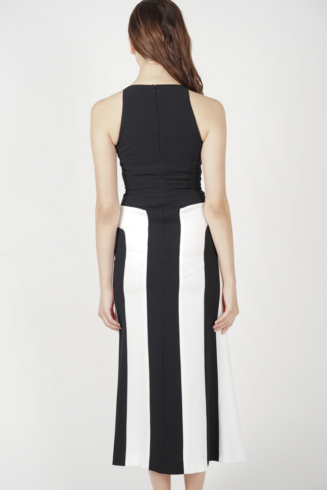Shawna Color-Block Dress in Black - Arriving Soon