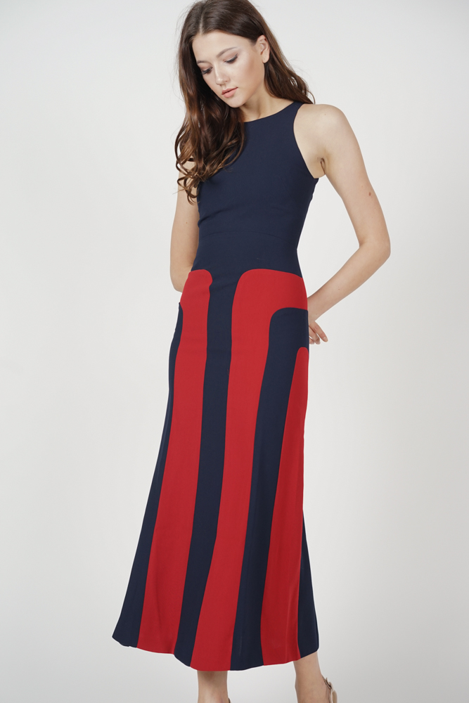 Shawna Color-Block Dress in Midnight - Arriving Soon
