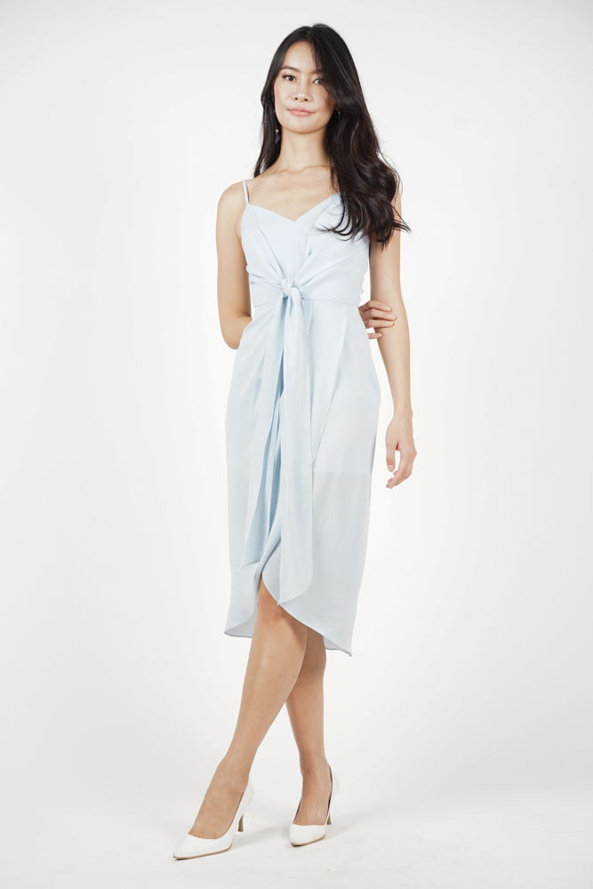 Neola Front Tie Dress in Ash Blue - Arriving Soon