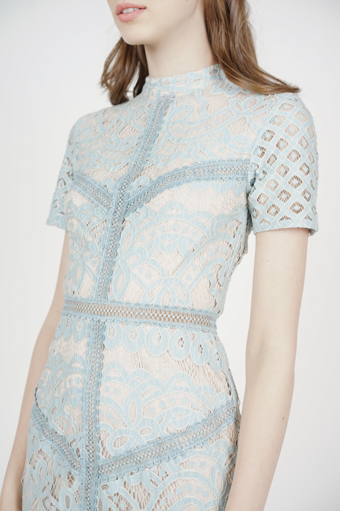 Tishya Lace Dress in Ash Blue - Arriving Soon