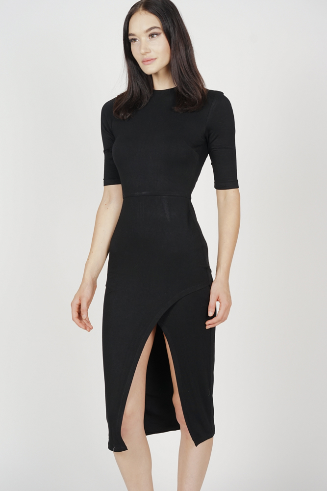 Zelda Slit Dress in Black - Arriving Soon