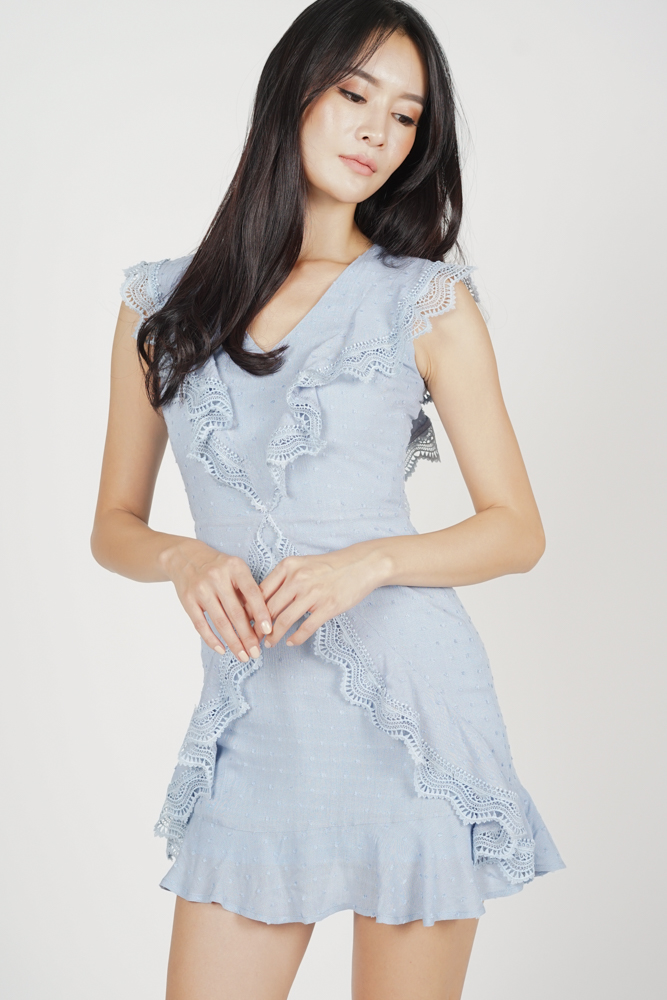 Khloey Ruffled Dress in Ash Blue - Arriving Soon