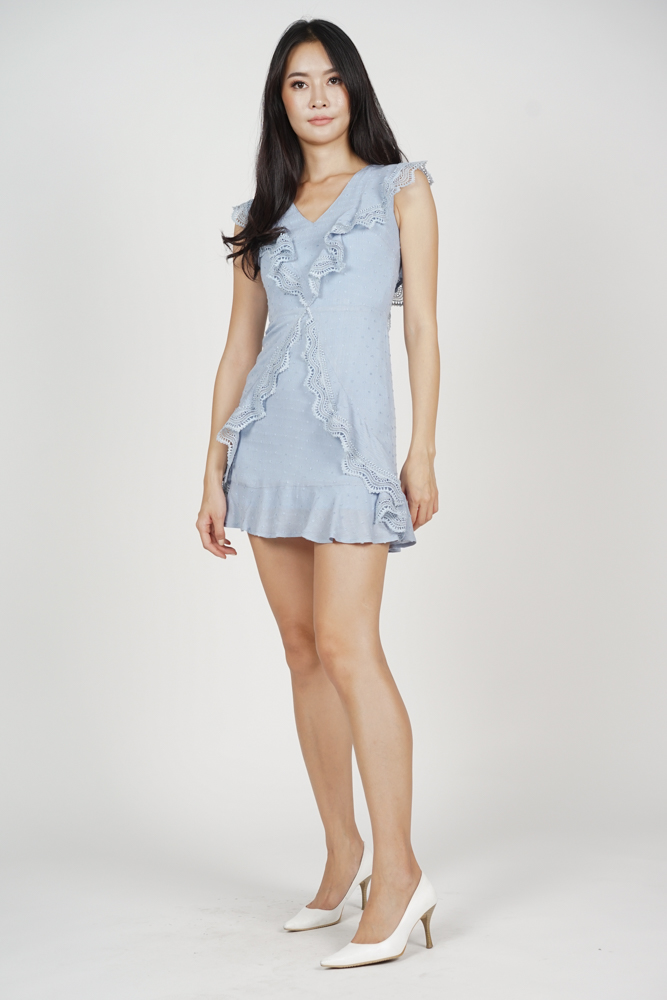 Khloey Ruffled Dress in Ash Blue