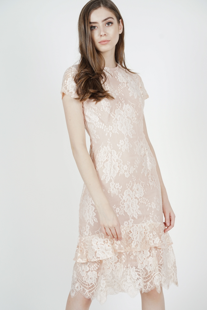 Clarah Lace Dress in Blush