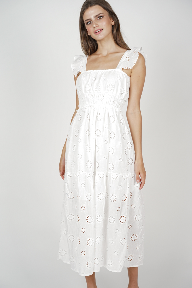 Beatrice Gathered Waist Dress in White - Online Exclusive
