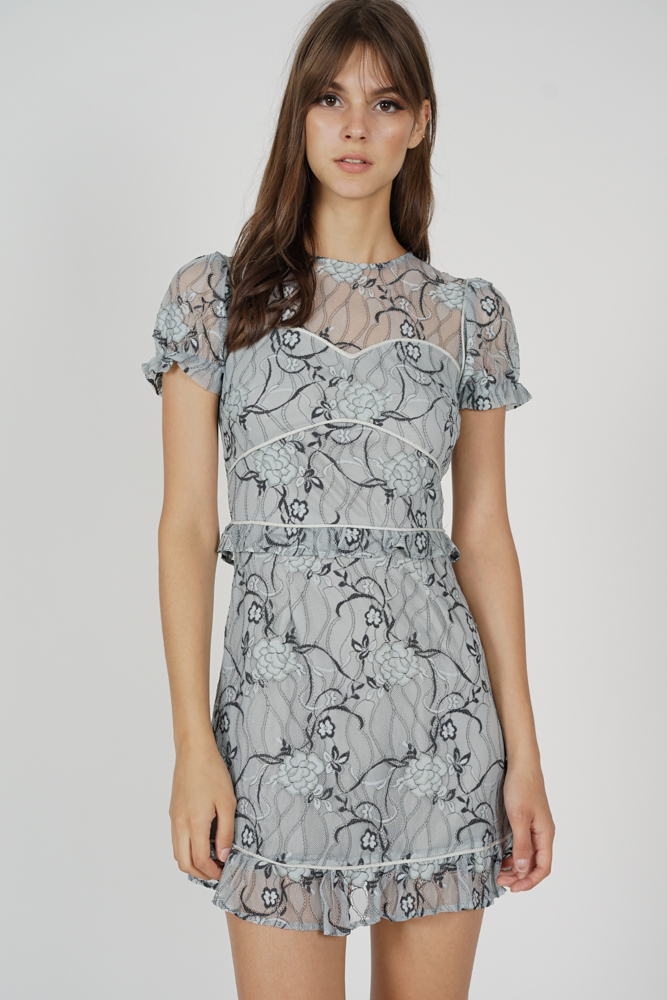 Stasia Lace Dress in Ash Blue - Arriving Soon