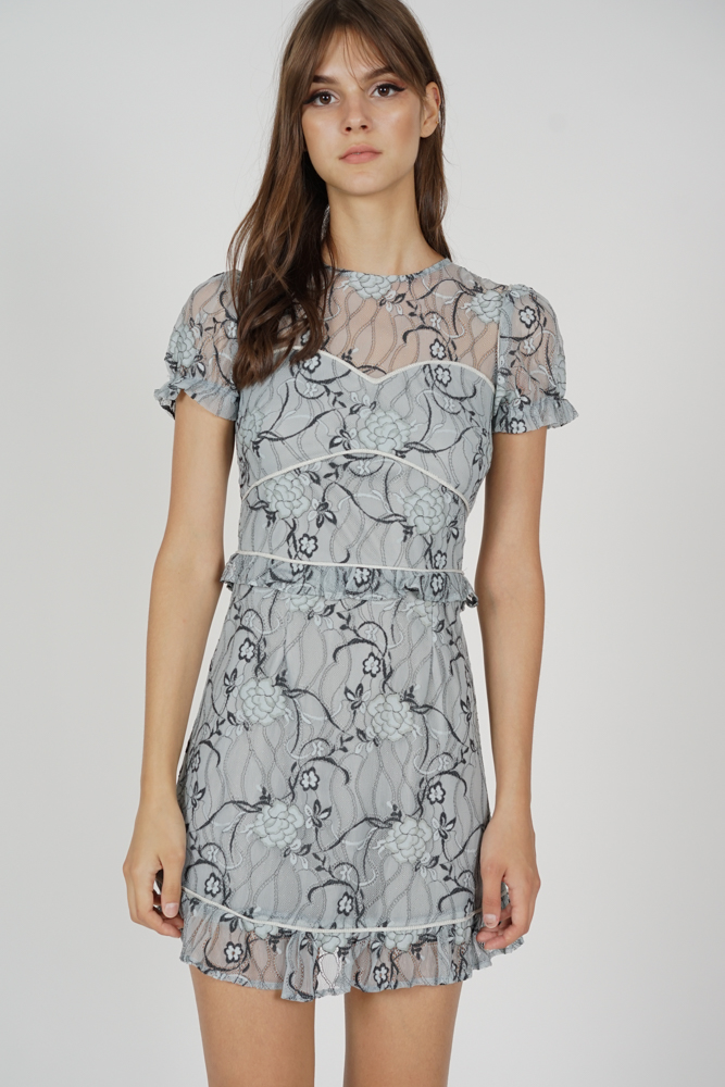 Stasia Lace Dress in Grey