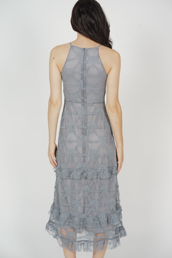 Sheina Ruffled Dress in Grey - Arriving Soon
