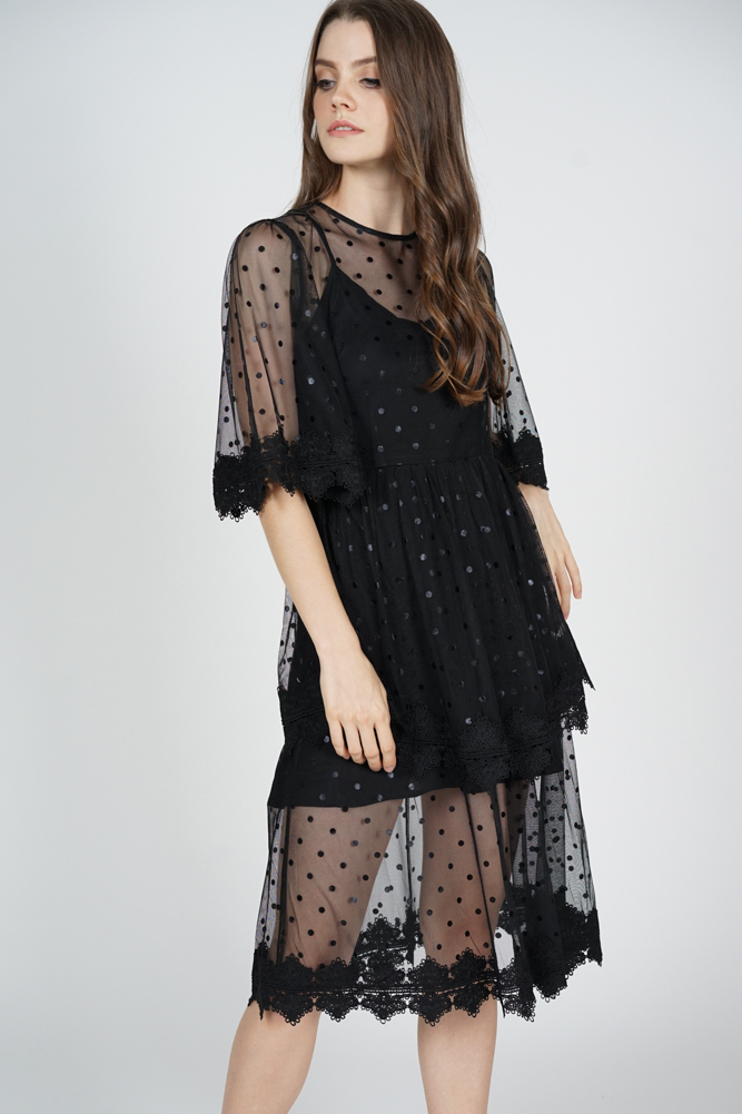 Zyrie Tiered Dress in Black Polka Dots