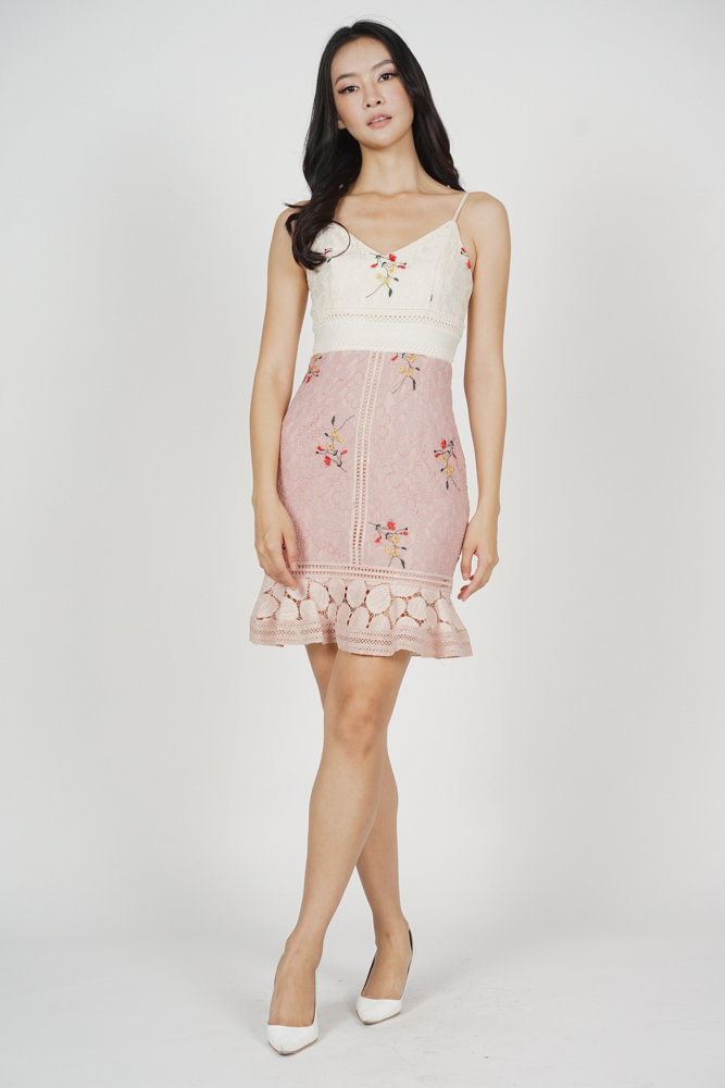 Lindea Ruffled-Hem Dress in Cream Pink - Arriving Soon