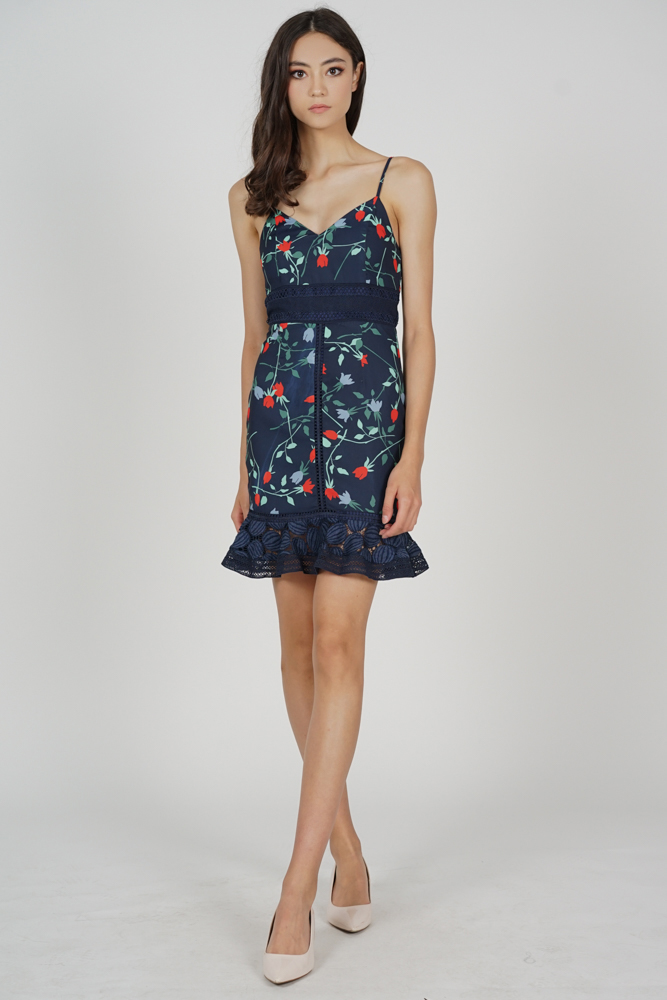 Lindea Ruffled-Hem Dress in Midnight Floral - Arriving Soon