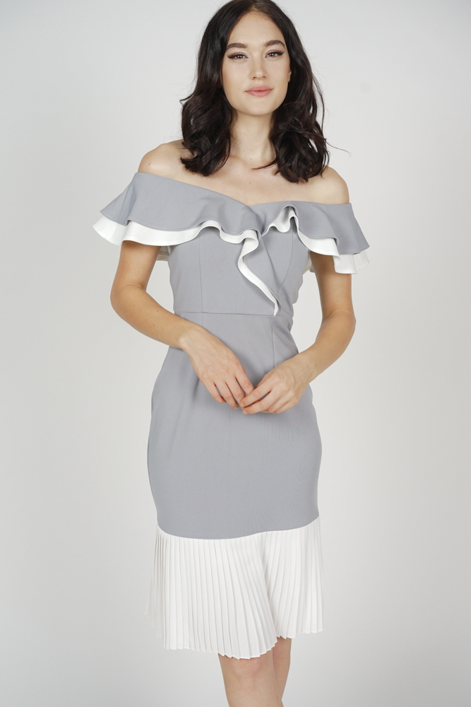 Joy Pleated-Hem Dress in Grey White - Arriving Soon