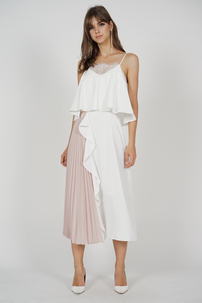 Alven Side-Pleated Dress in White - Arriving Soon