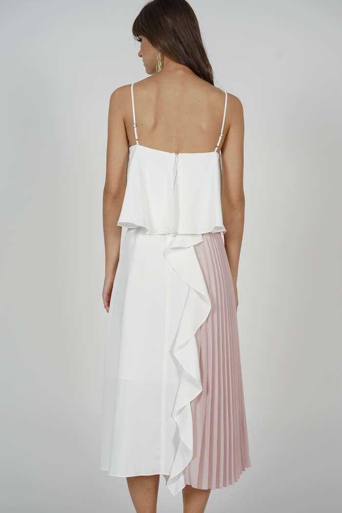 Alven Side-Pleated Dress in White