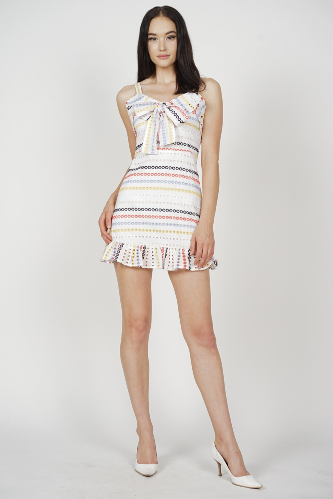 Mura Front Tie Dress in Rainbow