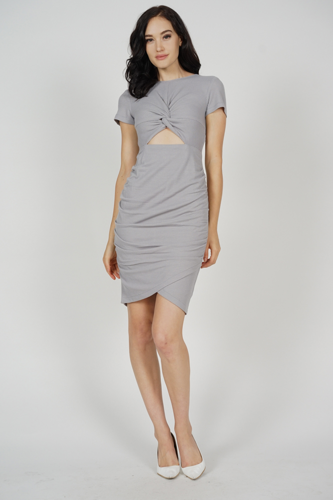 Kalea Knotted Dress in Grey - Arriving Soon