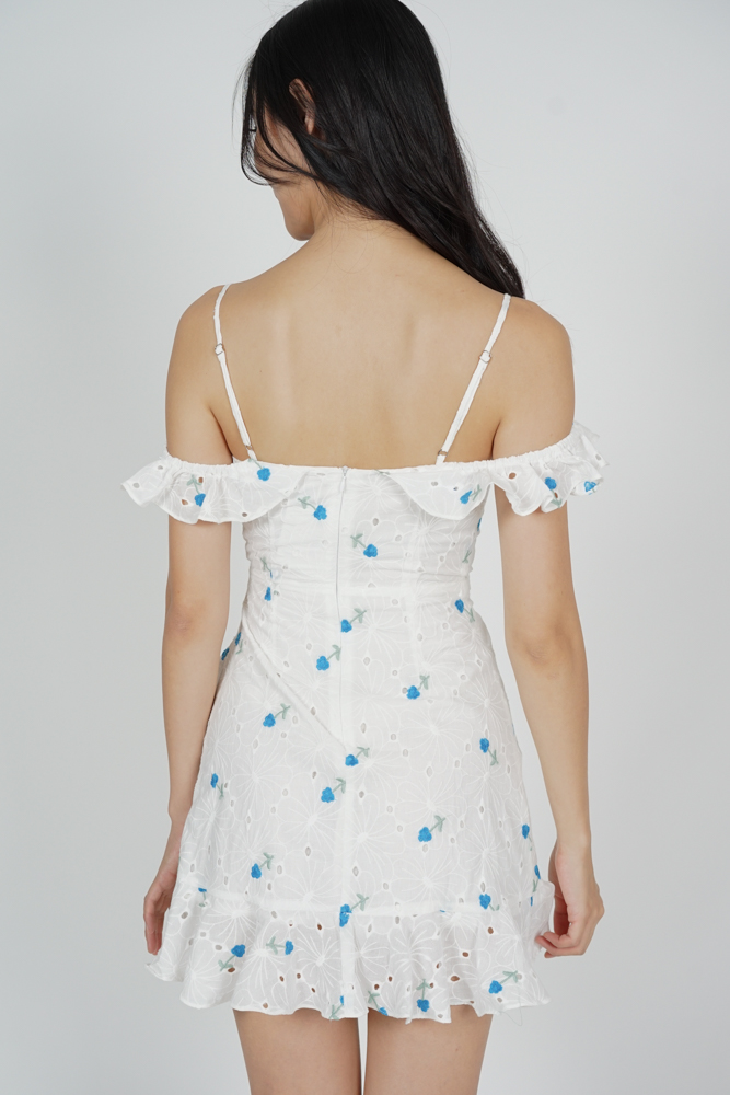 Meredith Ruffled Dress in Blue Floral - Arriving Soon