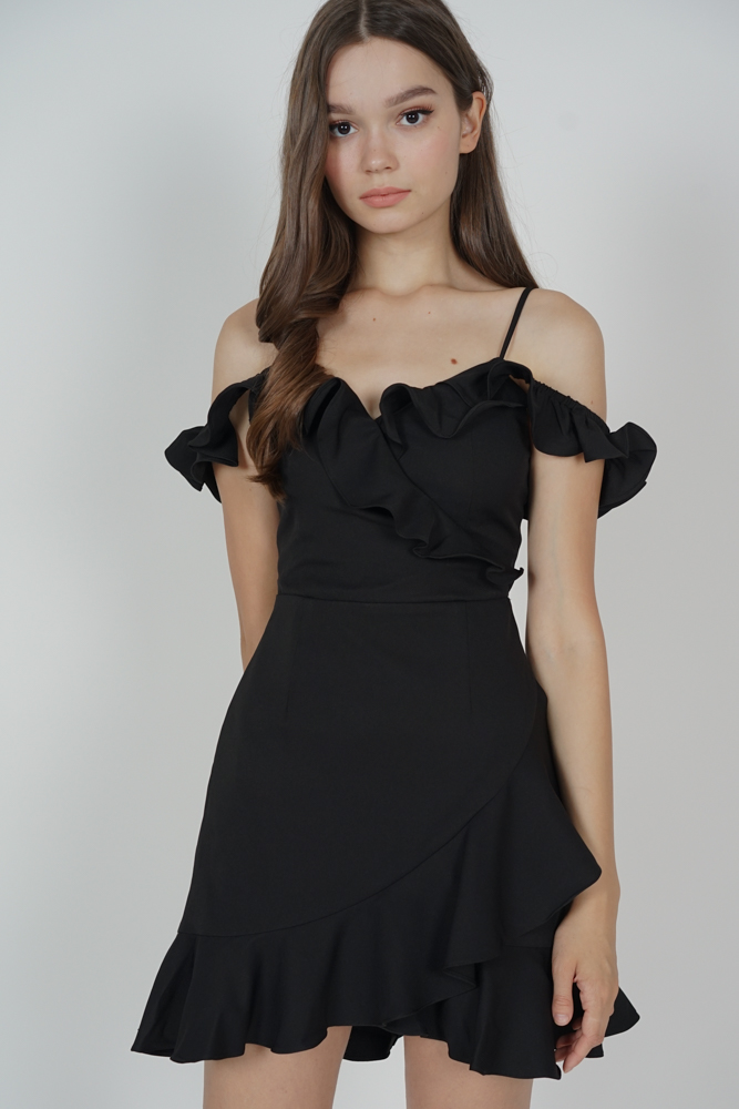 Brenie Ruffled Dress in Black - Arriving Soon